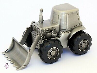 Pewter Money Bank Tractor Digger Baby Shower Gift Idea Christening