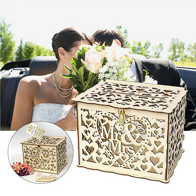 Mr & Mrs Wedding Card Post Box Wooden Collection Gift Wishing Card Boxes w/Lock