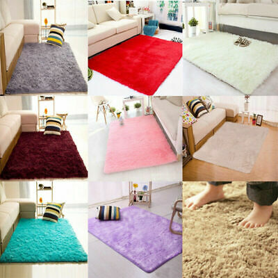 UK HOT Anti-Skid Area Rug Fluffy Rugs Home Bedroom Shaggy Rug Dining Room Carpet