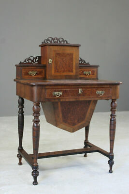 Antique Victorian Ladies Work Sewing Table Bureau Bonheur De Jour
