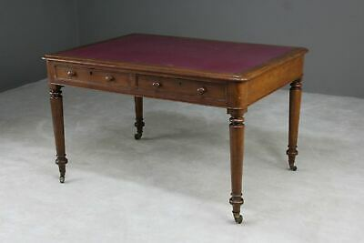 Antique Victorian Oak Library Writing Table Desk