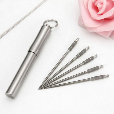 Portable Titanium Metal Toothpick Fruit Pick with Holder Case Reusable Tool zxv