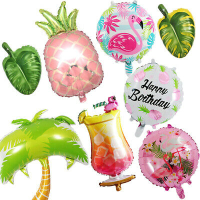 Hawaiian Palm tree Flamingo Pineapple Leaves Foil Balloon Tropical