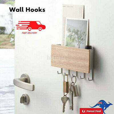 Wooden Wall Mounted Hanging Hanger Hooks Key Holder Storage Rack Organizer AU