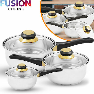 Saucepan Cookware Set Stainless Steel Pots Glass Lids Home Kitchen 6 Piece