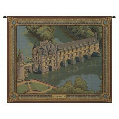Chateau Chenonceau French Castle River Cher Scene Woven Tapestry Wall Hanging