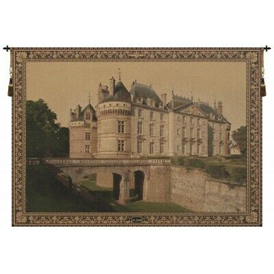 Le Chateau du Lude French Castle Scene European Woven Tapestry Wall Hanging