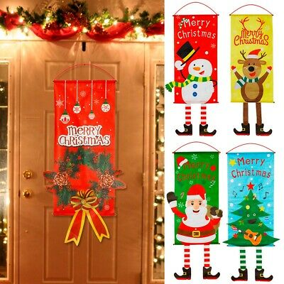 Merry Christmas Window Door Hanging Ornaments Santa Gifts New Year Home Decor
