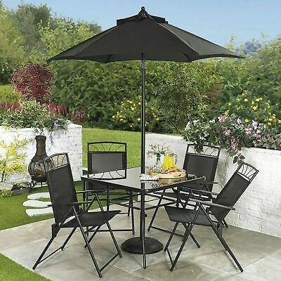 6 Piece Furniture Set Garden Patio 4 Chairs Table Parasol Black Collection Only