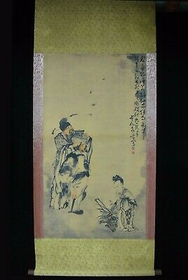 "Very Large Old Chinese Scroll Hand Painting ""ZhongKui"" Images ""HuangShen"" Marks"