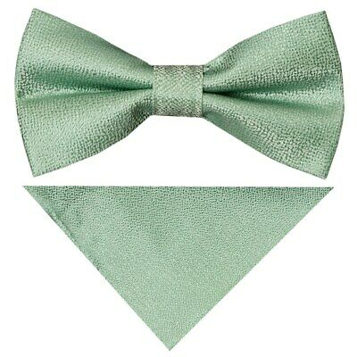 Pre Tied Green Textured Silk Boys Bow Tie and Pocket Square Set Wedding Bow Tie