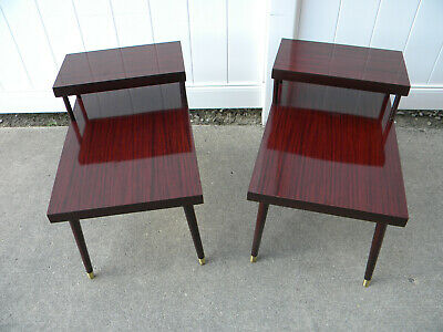 Pair vintage MCM two-tier step wood veneer end side tables 50s 60s tapered legs