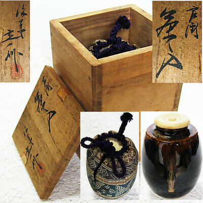 Japan Tea ceremony equipment KATATSUKI Chaire koi-chaki Pottery tea caddy KT23