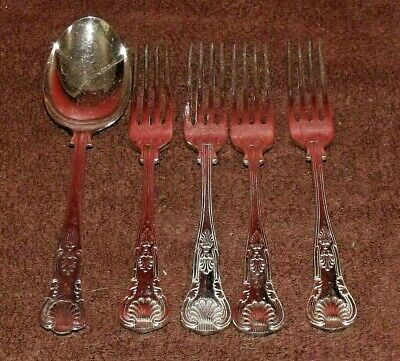Vintage Silver Plated Kings Pattern Table Spoon + 4 Dinner Forks