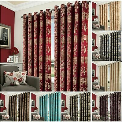 Heavy Jacquard Wide Curtains Eyelet Ring Top Bedroom Living Room Lined curtain