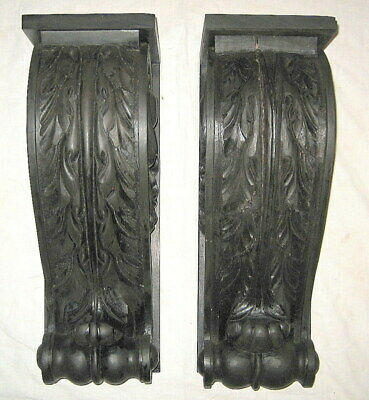 Pair of Antique DI LORENZO Carved Mahogany Scrolled Acanthus Wood Corbels
