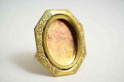 Antique 1900s Victorian Deco Ornate Oval Gold-Plated Gilt Photo Picture Frame
