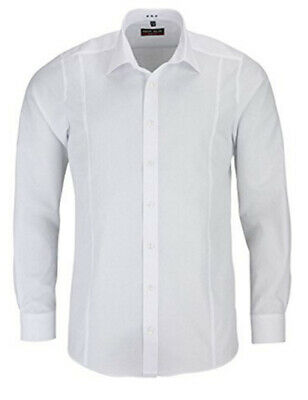 "Mens Marvelis Shirt 15.75"" 40cm Slim Body Fit Easy Iron Cotton White Panel Front"