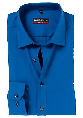 "Mens Marvelis Shirt 15"" Slim Body Fit Cotton Long Sleeve Cobalt Blue"
