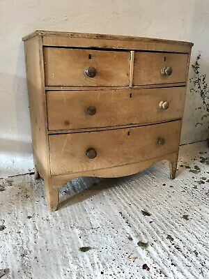 Antique 19th Century Victorian Pine Bow Fronted Chest Of Drawers