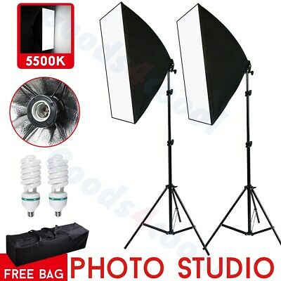 2x135W Photography Softbox Studio Continuous Lighting Soft Box Stand Kit & Bag