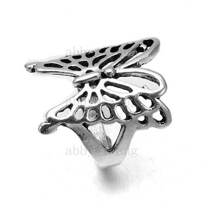 Wholesale 20Pcs Lot Outsize Cut Butterfly Antique Silver Plated Rings Jewelry US