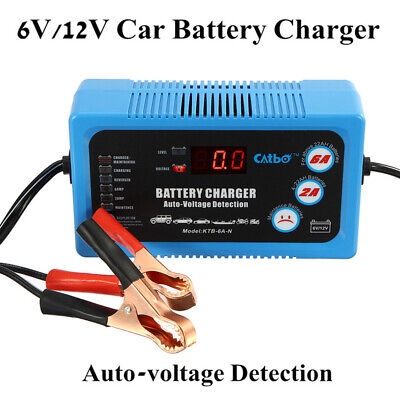6V 12V Smart Trickle Acid Battery Charger Booster Lcd - Car Motorcycle Uk Plug