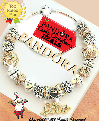 Authentic Pandora Charm Bracelet Silver Gold Wife Mom with European Charms NEW