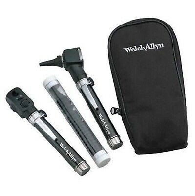 Welch Allyn Pocket JR Set Ophthalmoscope Otoscope 2 Handles + Soft Case TORN Box