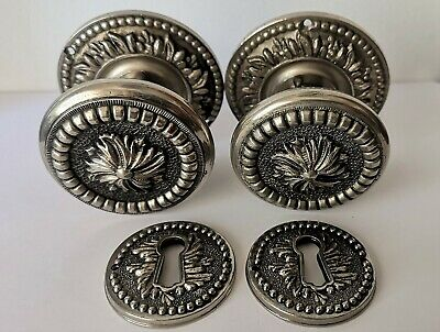 1 Pair -  VINTAGE (ANTIQUE)  BRASS DOOR KNOBS Victorian Style - HANDLES - 60 mm