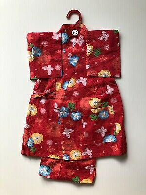 Japanese Kimono Wrap Top & Shorts For Kids 3-4 Years Old Red Cosplay UK Seller