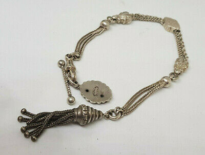 Beautiful Antique Solid Silver Albert Pocket Watch Chain With Tassel&Fob 17.2 G.