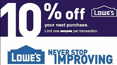 ONE Lowes 10% OFF InStore and Online1Coupon---Expires 09/30/2019