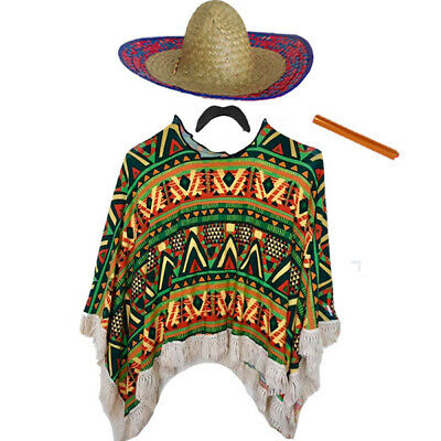 Adults Or Childs Mexican Poncho Sombrero Cigar Moustache Fancy Dress Bandit