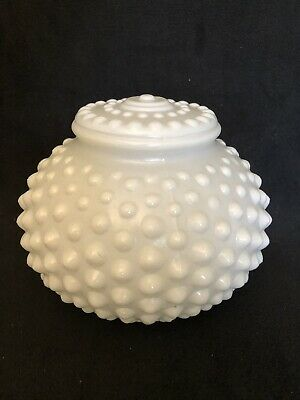 "White Hobnail Glass Globe Ceiling Shade Vintage - 3-1/4"" Fitter / 6"" Round"