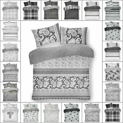 DOUBLE Duvet Cover Set Grey Bedding Set, REVERSIBLE, Duvet Set with Pillow Cases