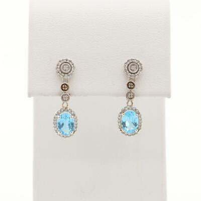 Diamond and Topaz White Gold Drop Earrings