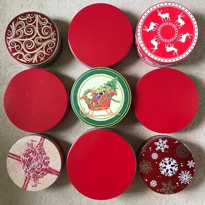 Lot of 9 Assorted Christmas Tins.  All round, varied sizes & designs.  4 Red.