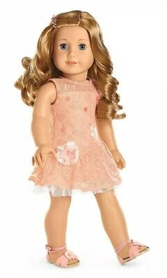 NIB American Girl Peach Shimmer and & Lace Party Dress, Sandal, Barrette NEW!
