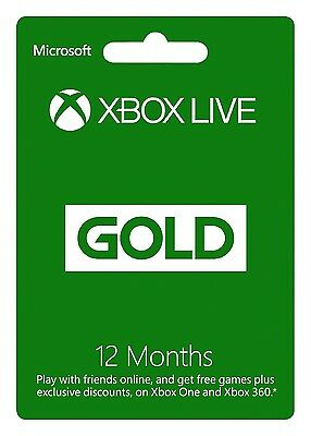 Microsoft Xbox Live 1 Year 12-Month Gold Membership Subscription Card