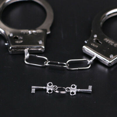 Silver Police Handcuffs Silver STEEL Double Lock Hand Cuffs w/Keys Halloween yz