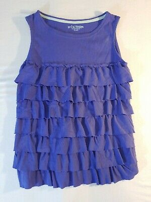 Mini Boden Girl 9-10Y Knit Tank Top Tiered Ruffle Solid Blue