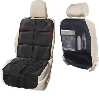 2 Pack Durable Waterproof Car Seat Protector Cover Organizer + Backseat Kick Mat