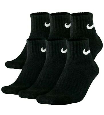 Nike Everyday Plus 6-Pair Pack Ankle Cotton Cushioned Dri-Fit Socks 8-12 Black