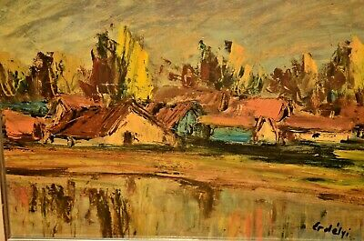 ERDELYI European Impressionist Village Home River Lake Landscape Oil Painting