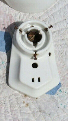 Antique White Bathroom Light Fixture Electrical Outlet Pull Chain Milk Glass