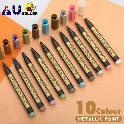 10pcs Metallic Paint Pens Sets Fine Art Marker Metal Glass Rock Waterproof AU