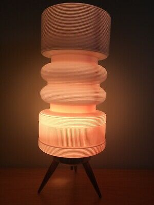 Mid Century Modern Beehive Table Lamp Light Pink Tripod Wooden Legs