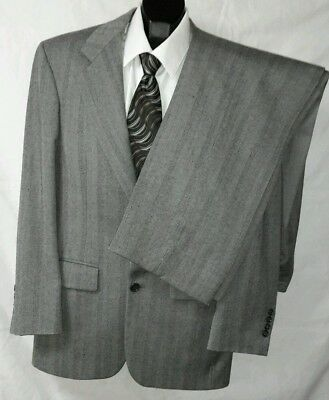 Bill Blass Mens Gray Wool Fully Lined 2pc Business Suit Sz 40R 30X29