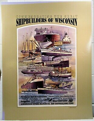 """1990 Mint Poster """"Shipbuilding Companies In Wisconsin"""", Great Lakes Boat Images"""